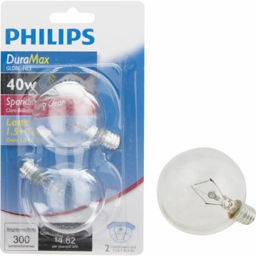 Philips DuraMax 40-Watt Candelabra Base G16.5 Globe Light Bulbs Perspective: front
