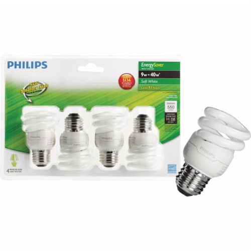 Philips 4pk 9w T2 Swmed Cfl Bulb 417063 Perspective: front