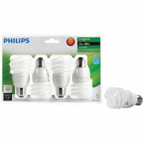 Philips EnergySaver 13-Watt (60-Watt) Medium Base CFLI Light Bulbs Perspective: front