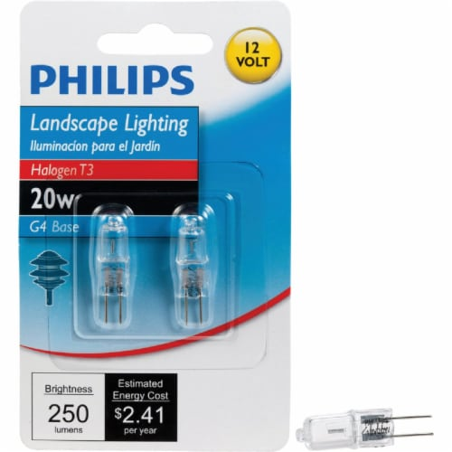 Philips 20-Watt G4 Base T3 Tube Halogen Light Bulbs Perspective: front