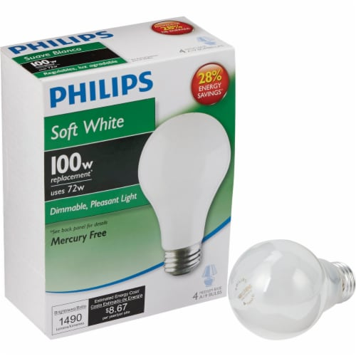 Philips EcoVantage 72-Watt (100-Watt) Medium Base A19 Light Bulbs Perspective: front