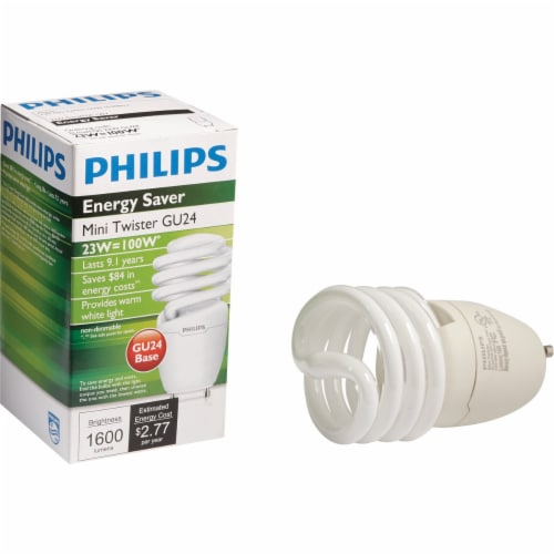 Philips Energy Saver 100W Equivalent Warm White GU24 Base Spiral CFL Light Bulb Perspective: front