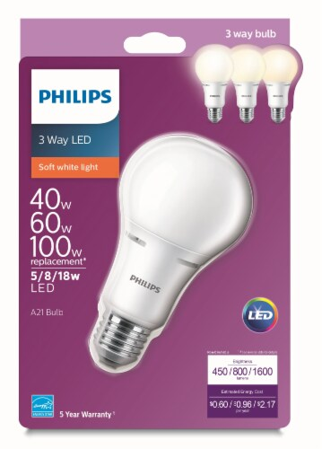 Philips 5/8/18-Watt 3-Way A21 LED Light Bulb Perspective: front