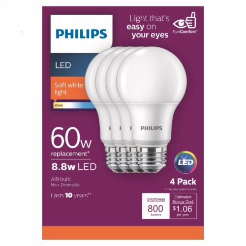 Philips 8.5-Watt (60-Watt) A19 LED Light Bulbs Perspective: front