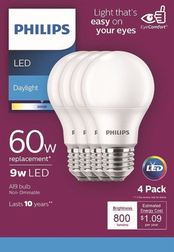 Philips 8-Watt A19 LED Light Bulbs Perspective: front