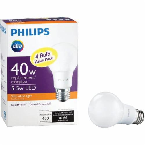 Philips 6.5-Watt (40-Watt) A19 LED Light Bulbs Perspective: front