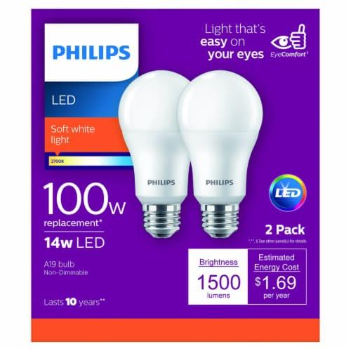 Philips 14-Watt (100-Watt) A19 LED Light Bulbs Perspective: front