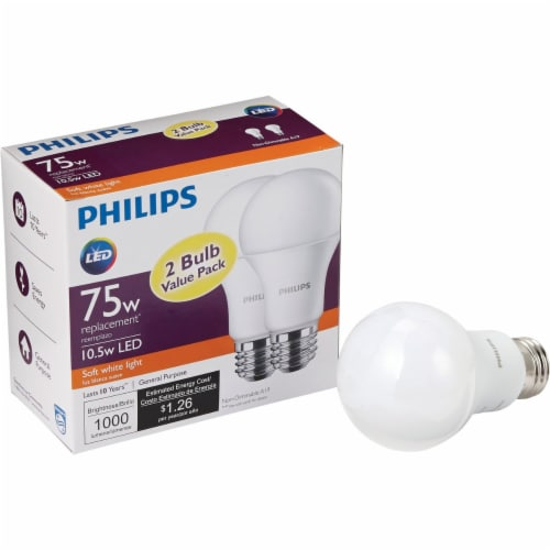 Philips 75W Equivalent Soft White A19 Medium LED Light Bulb (2-Pack) 462969 Perspective: front