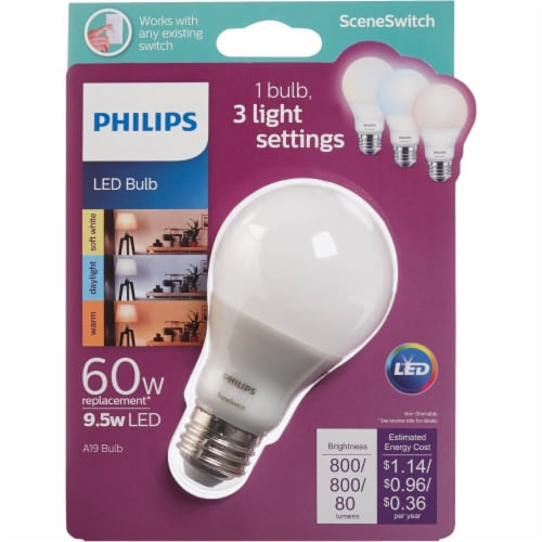 Philips 9.5-Watt (60-Watt) A19 Color Changing LED Light Bulb Perspective: front