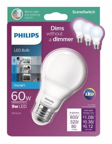 Philips 9-Watt (60-Watt) A19 SceneSwitch LED Light Bulb Perspective: front
