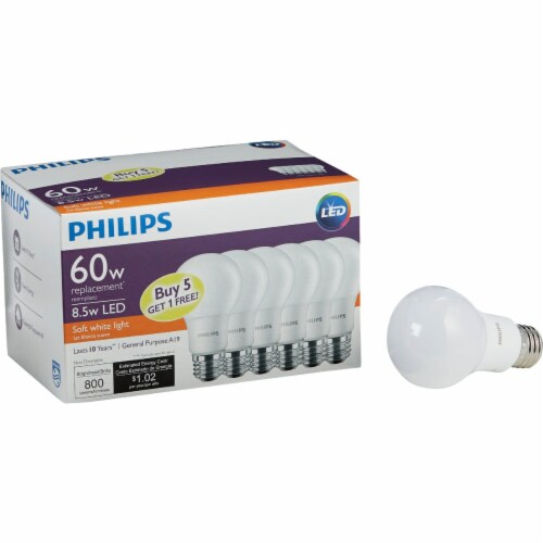 Philips 60W Equivalent Soft White A19 Medium LED Light Bulb (6-Pack) 469205 Perspective: front