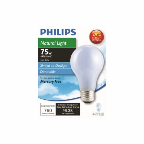 Philips 53-Watt (75-Watt) Medium Base A19 Light Bulbs Perspective: front