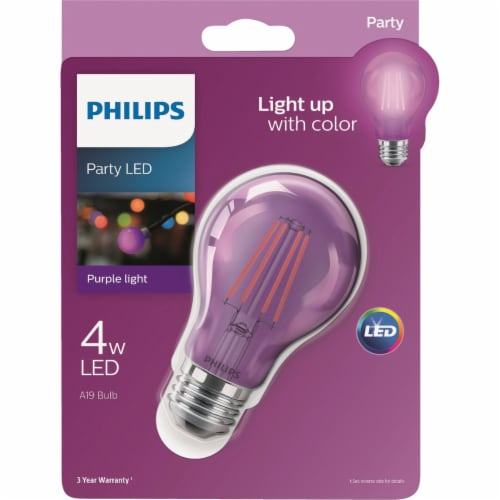 Philips Purple A19 Medium 4W Indoor/Outdoor LED Decorative Party Light Bulb Perspective: front