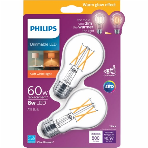 Philips 8-Watt (60-Watt) A19 LED Light Bulbs Perspective: front