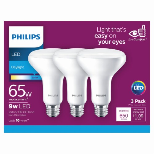 Philips 9-Watt (65-Watt) Indoor BR30 LED Floodlight Bulb Perspective: front