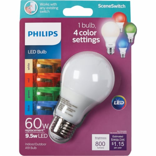 Philips 9.5-Watt (60-Watt) Color Changing A19 LED Light Bulb Perspective: front