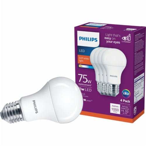 Philips 11-Watt (75-Watt) A19 LED Light Bulbs Perspective: front
