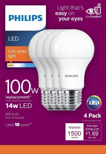 Philips 100-Watt A19 Soft White LED Light Bulbs Perspective: front