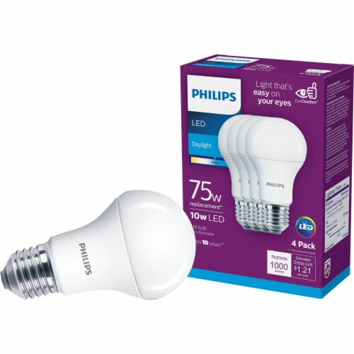 Philips 10-Watt (75-Watt) A19 LED Light Bulbs Perspective: front