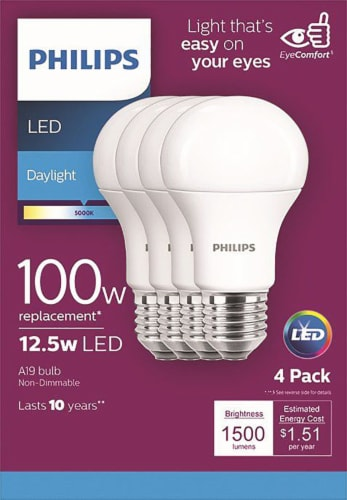 Philips 12.5-Watt A19 LED Light Bulbs Perspective: front