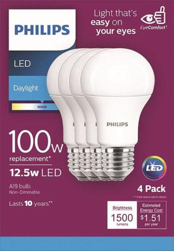 Philips 12.5-Watt (100-Watt) A19 LED Light Bulbs Perspective: front