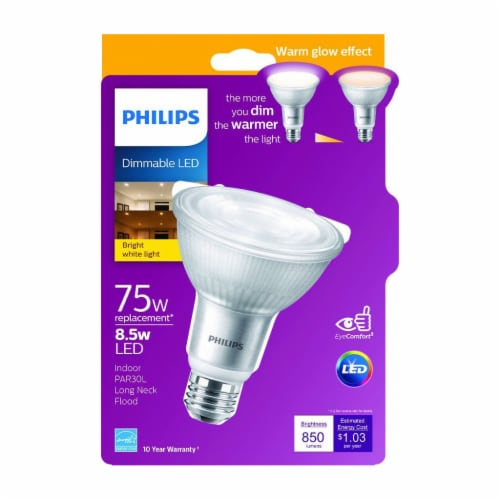Philips 8.5-Watt (75-Watt) Long Neck PAR30L LED Floodlight Bulb Perspective: front