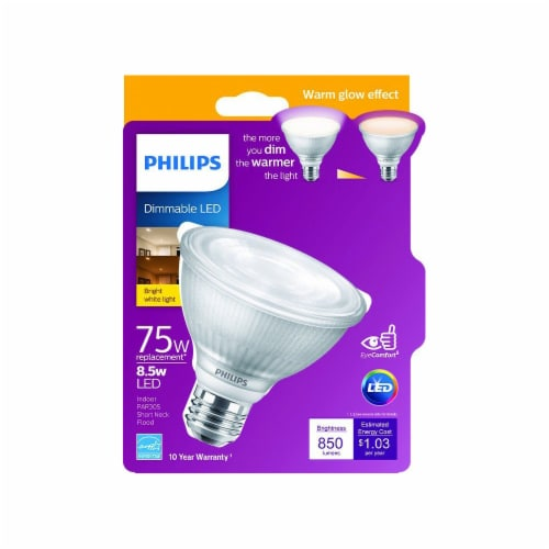 Philips 8.5-Watt (75-Watt) Short Neck PAR30S LED Floodlight Bulb Perspective: front