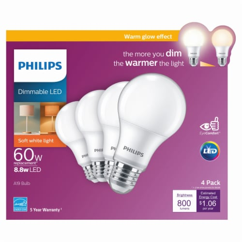 Philips 8.8-Watt (60-Watt) A19 LED Light Bulbs Perspective: front