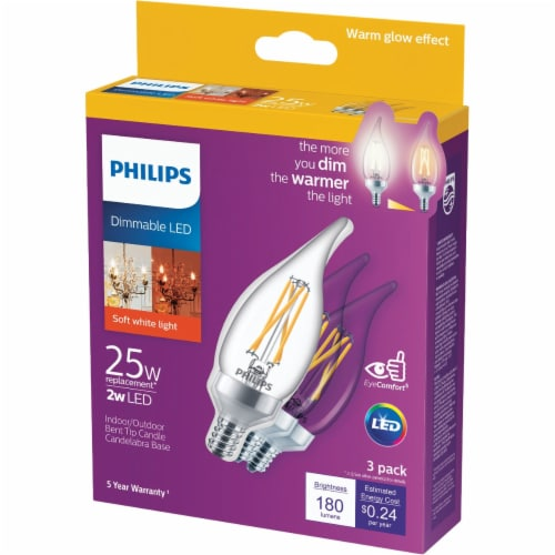 Philips 2-Watt (25-Watt) Candelabra Base Bent Tip Candle BA11 LED Light Bulbs Perspective: front
