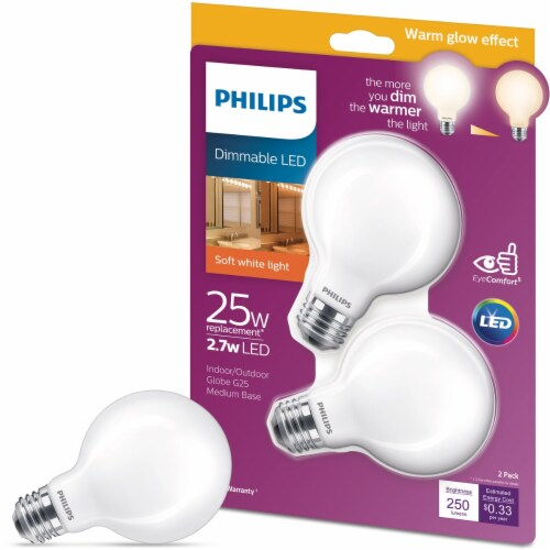 Philips 2pk 25w G25 Wg Led Bulb 548957 Perspective: front