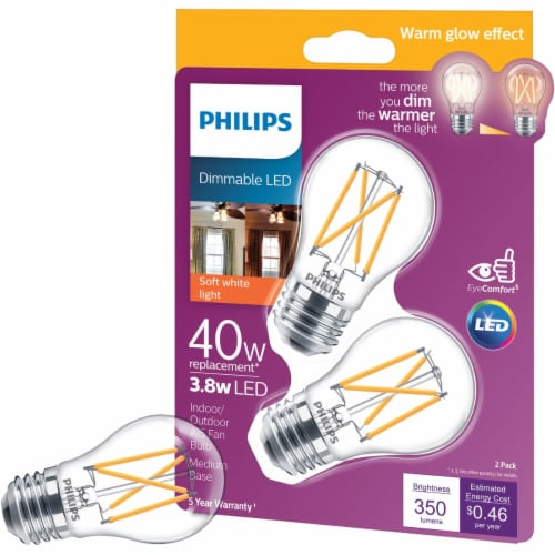 Philips 3.8-Watt (40-Watt) Medium Base Ceiling Fan A15 LED Light Bulbs Perspective: front