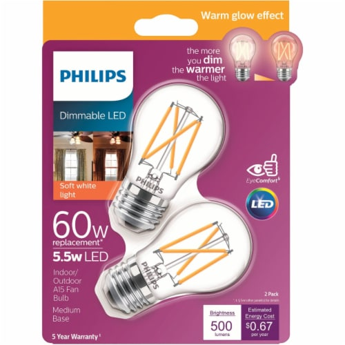 Philips 5.5-Watt (60-Watt) Medium Base Ceiling Fan A15 LED Light Bulbs Perspective: front