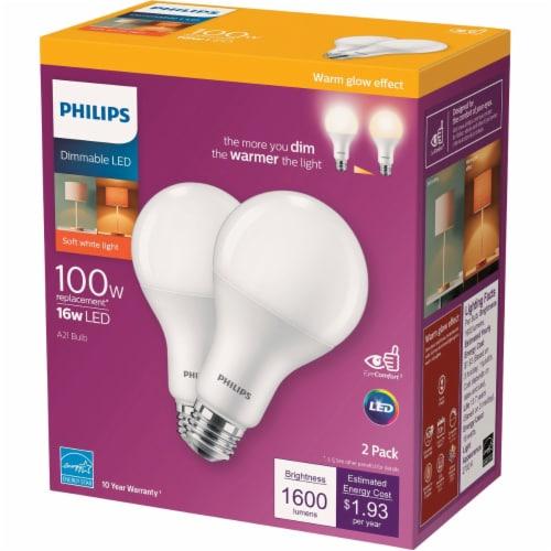 Philips 16-Watt 100-Watt A21 LED Light Bulbs Perspective: front
