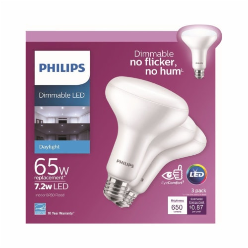 Philips 7.2-Watt (65-Watt) BR30 Indoor LED Floodlight Bulbs Perspective: front