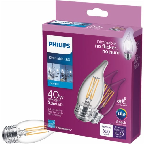 Philips 40W Equivalent Daylight BA11 Medium LED Decorative Light Bulb (3-Pack) Perspective: front