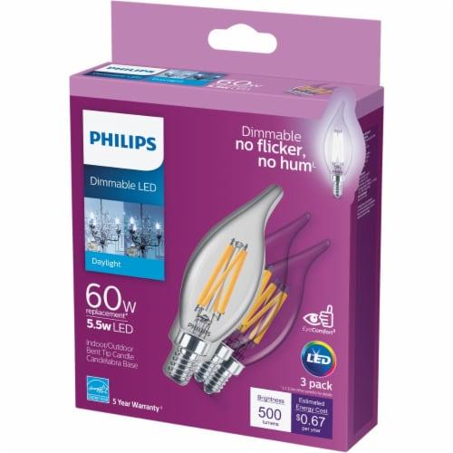 Philips 5.5-Watt (60-Watt) Candelabra Base Bent Tip Candle BA11 LED Light Bulbs Perspective: front
