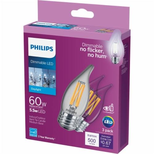 Philips 5.5-Watt (60-Watt) Medium Base Bent Tip BA11 LED Light Bulbs Perspective: front