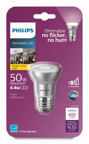 Philips 4.4-Watt (50-Watt) PAR16 LED Indoor Floodlight Bulb Perspective: front