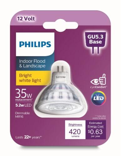 Philips 5.2-Watt (35-Watt) GU5.3 Base MR16 LED Floodlight Bulb Perspective: front