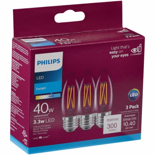 Philips 3.3-Watt (40-Watt) Candelabra Base Blunt Tip Candle B11 LED Light Bulbs Perspective: front