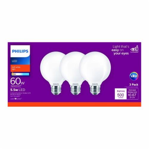 Philips 5.5-Watt (60-Watt) Medium Base Globe G25 LED Light Bulbs Perspective: front