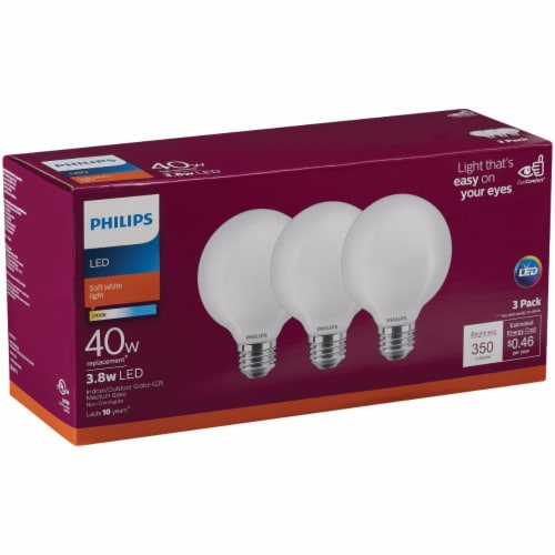 Philips 3.8-Watt (40-Watt) Medium Base Globe G25 LED Light Bulbs Perspective: front