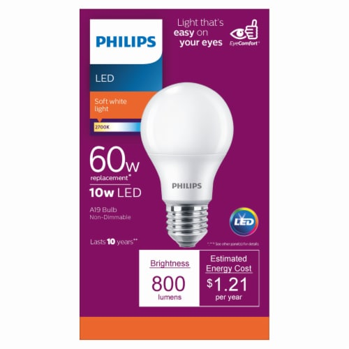 Philips 10-Watt (60-Watt) A19 LED Light Bulb Perspective: front