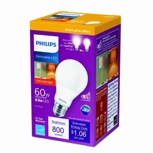 Philips 8.8-Watt (60-Watt) A19 LED Light Bulb Perspective: front