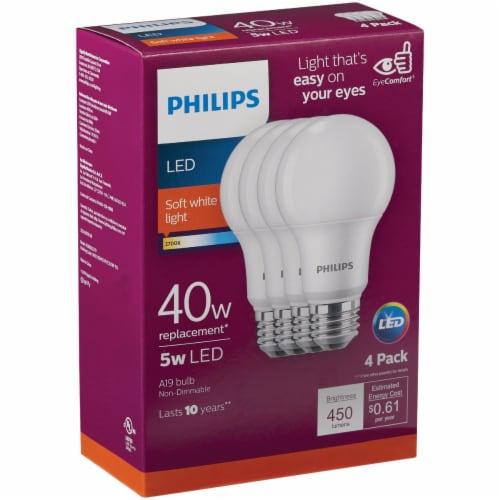 Philips 5-Watt 40-Watt A19 LED Light Bulbs Perspective: front