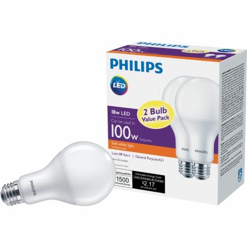 Philips 18-Watt (100-Watt) Medium Base A21 LED Light Bulbs Value Pack Perspective: front