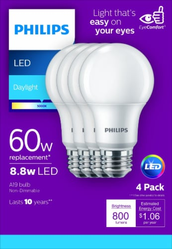 Philips 8.8-Watt (60-Watt) A19 LED Light Bulbs Perspective: front