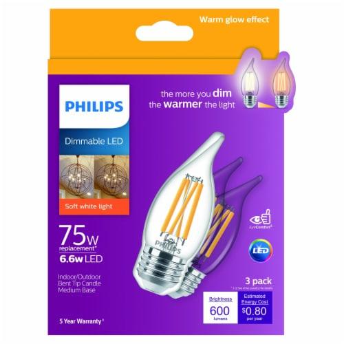 Philips 6.6-Watt (75-Watt) Medium Base Bent Tip Candle A11 LED Light Bulbs Perspective: front