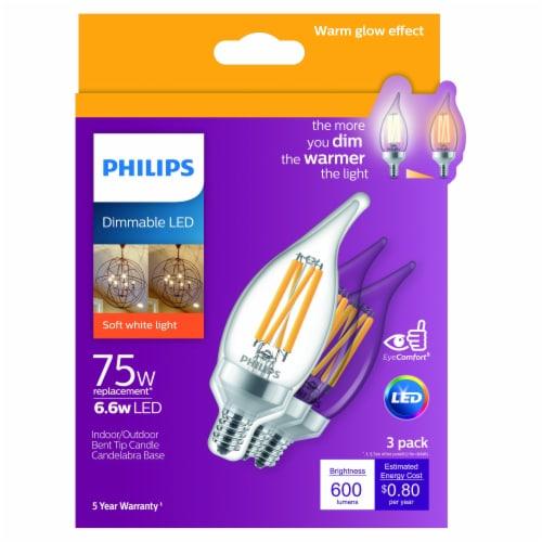 Philips 6.6-Watt (75-Watt) Candelabra Base Bent Tip LED Soft White Light Bulbs Perspective: front