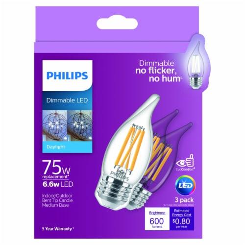 Philips 6.6-Watt (75-Watt) A11 Bent Candle Tip LED Light Bulbs Perspective: front